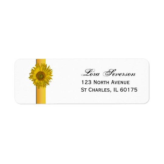 Yellow Sunflower Stripe Return Address Return Address Label