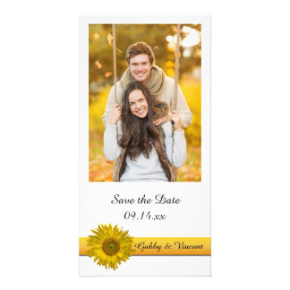 Yellow Sunflower Stripe Wedding Save the Date Picture Card