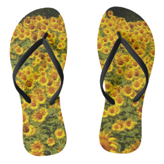 Yellow Sunflower Summer Design Flip Flops