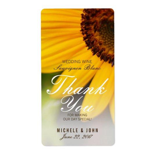 Yellow Sunflower Summer Wedding Wine Custom Label