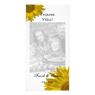Yellow Sunflower Thank You Vertical Photo Cards