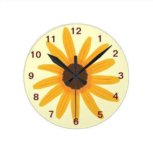 yellow sunflower wall clock zazzle