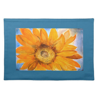 Yellow Sunflower Watercolor Art Blue Placemat
