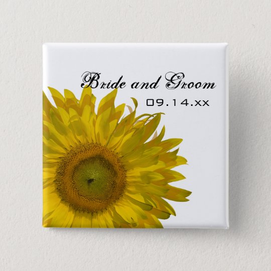 Yellow Sunflower Wedding Button