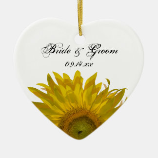 Yellow Sunflower Wedding Christmas Ornament