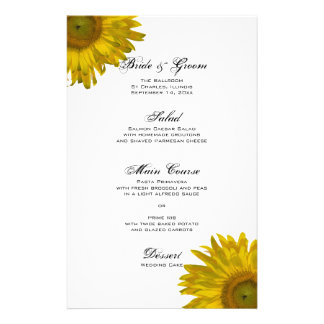 Yellow Sunflower Wedding Menu Stationery Design