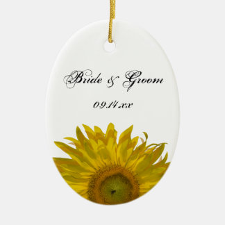 Yellow Sunflower Wedding Photo Christmas Ornament