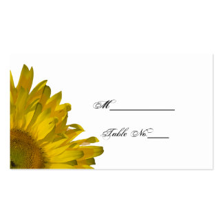 Yellow Sunflower Wedding Place Card Business Cards