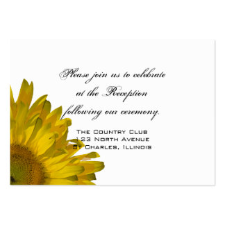 Yellow Sunflower Wedding Reception Card Pack Of Chubby Business Cards