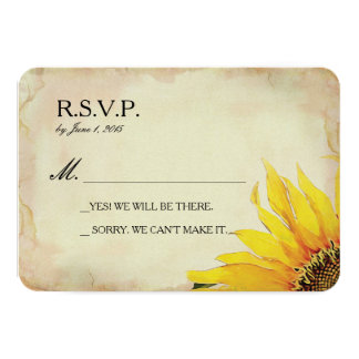 Yellow Sunflower Wedding RSVP Card