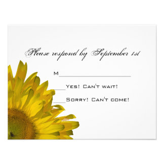 Yellow Sunflower Wedding RSVP Response Card Invite
