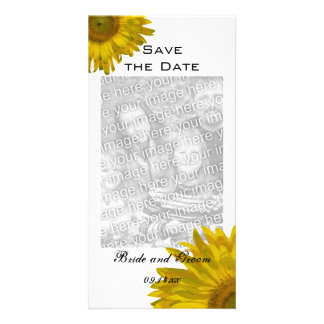 Yellow Sunflower Wedding Save the Date Vertical Card