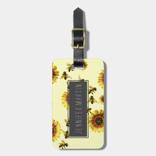 Yellow Sunflowers and Honey Bees Summer Pattern Luggage