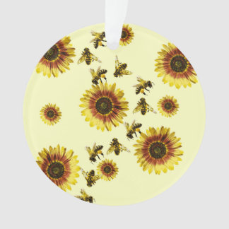 Yellow Sunflowers and Honey Bees Summer Pattern Ornament