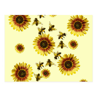 Yellow Sunflowers and Honey Bees Summer Pattern Postcard