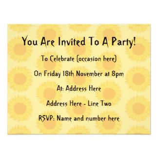 Yellow Sunflowers Background Pattern Custom Invites