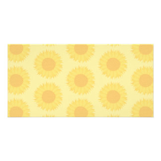 Yellow Sunflowers Background Pattern. Personalized Photo Card
