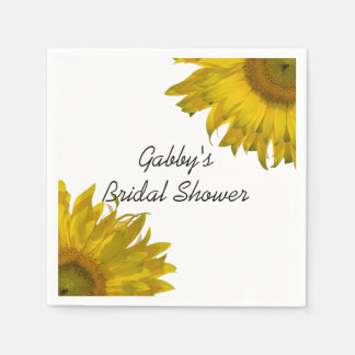 Yellow Sunflowers Bridal Shower Paper Napkins