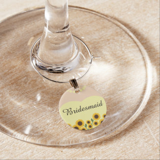 Yellow Sunflowers Bridesmaid Wedding Wine Glass Charms