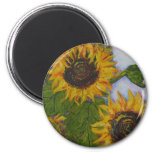 Yellow Sunflowers by Paris Wyatt Llanso 6 Cm Round Magnet