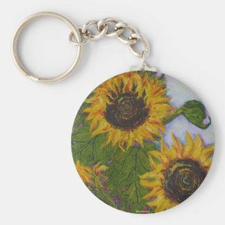 Yellow Sunflowers by Paris Wyatt Llanso Basic Round Button Key Ring