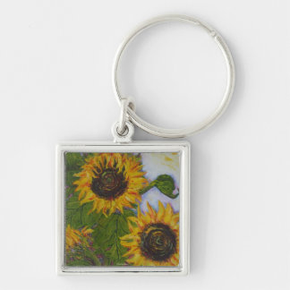 Yellow Sunflowers by Paris Wyatt Llanso Silver-Colored Square Key Ring