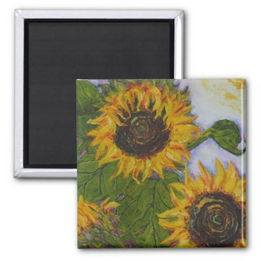 Yellow Sunflowers by Paris Wyatt Llanso Square Magnet
