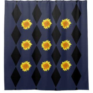 Yellow Sunflowers on Black Diamond Motif Shower Curtain