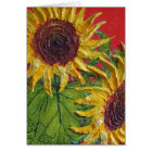 Yellow Sunflowers on Red Card