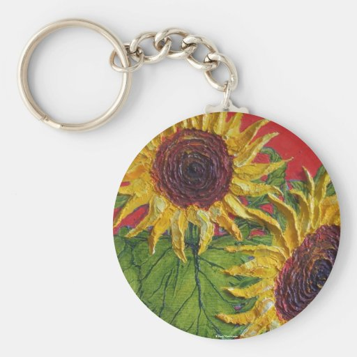Yellow Sunflowers on Red Keychains