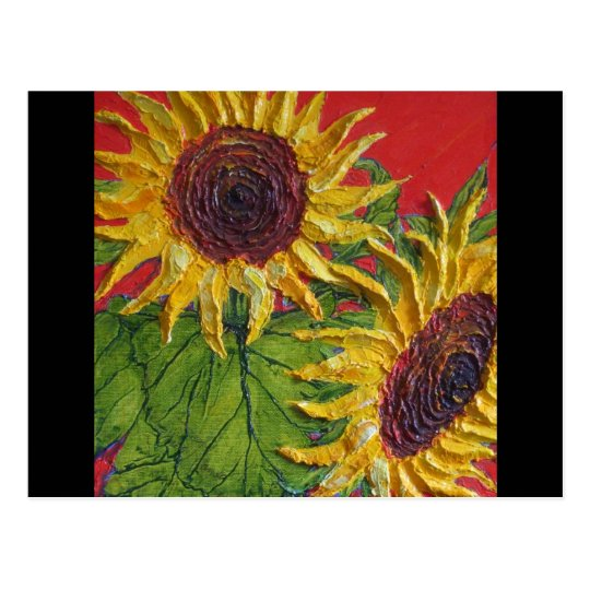 Yellow Sunflowers on Red Postcard