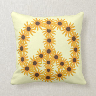 Yellow Sunflowers Peace Sign Custom Pillows
