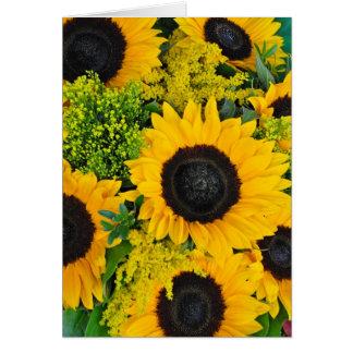 Yellow sunflowers print greeting card