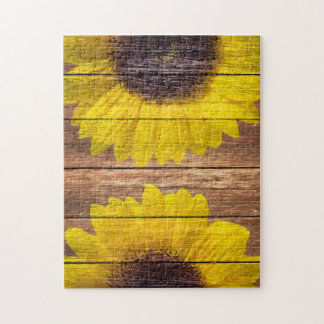 Yellow Sunflowers Rustic Vintage Brown Wood Jigsaw Puzzle