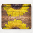 Yellow Sunflowers Rustic Vintage Brown Wood Mouse Mat