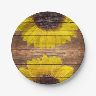 Yellow Sunflowers Rustic Vintage Brown Wood 7 Inch Paper Plate