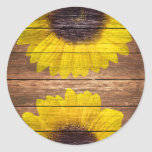 Yellow Sunflowers Rustic Vintage Brown Wood Round Sticker