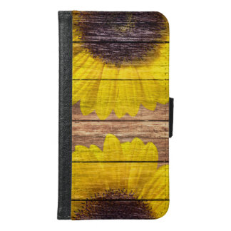 Yellow Sunflowers Rustic Vintage Brown Wood Samsung Galaxy S6 Wallet Case