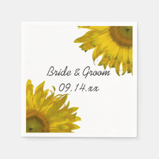 Yellow Sunflowers Wedding Paper Napkin
