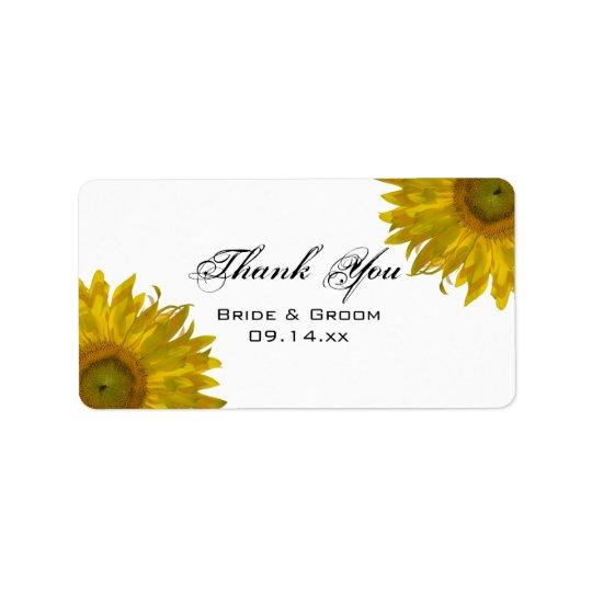 Yellow Sunflowers Wedding Thank You Favour Tags