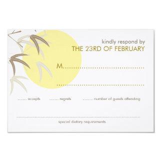 Yellow Sunrise Bamboo Zen Oriental RSVP Card 9 Cm X 13 Cm Invitation Card