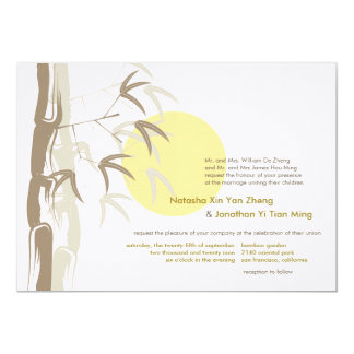Yellow Sunrise Bamboo Zen Wedding Invitation