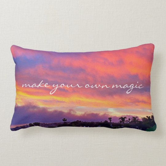 "Yellow sunrise ""magic"" quote photo lumbar pillow"