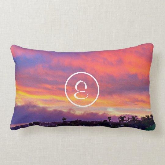 Yellow sunrise photo custom monogram lumbar pillow