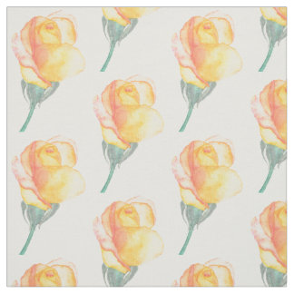 Yellow Sunset Rose Watercolor Fabric