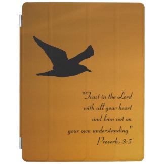 Yellow Sunset Sky Bird in Flight Faith Bible Verse iPad Cover