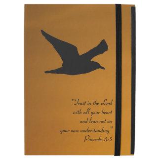 """Yellow Sunset Sky Bird in Flight Faith Bible Verse iPad Pro 12.9"""" Case"""