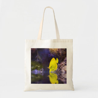 Yellow Surgeon fish looks at it's reflection Budget Tote Bag