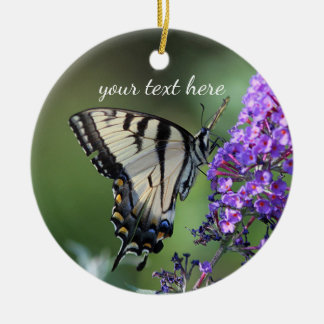 Yellow swallowtail butterfly christmas ornament