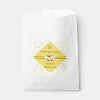 Yellow Sweet 16th Favor Bag w/ Gold Fonts